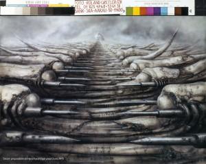 Jodorowsky's Dune_Dessin préparatoire de Hans Ruedi Giger pour Dune, 1975, copyright H.R. Giger