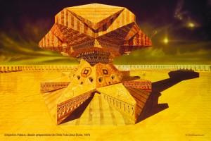 Jodorowsky's Dune_Emperors Palace, dessin préparatoire de Chris Foss pour Dune, 1975 copyright Chris Foss