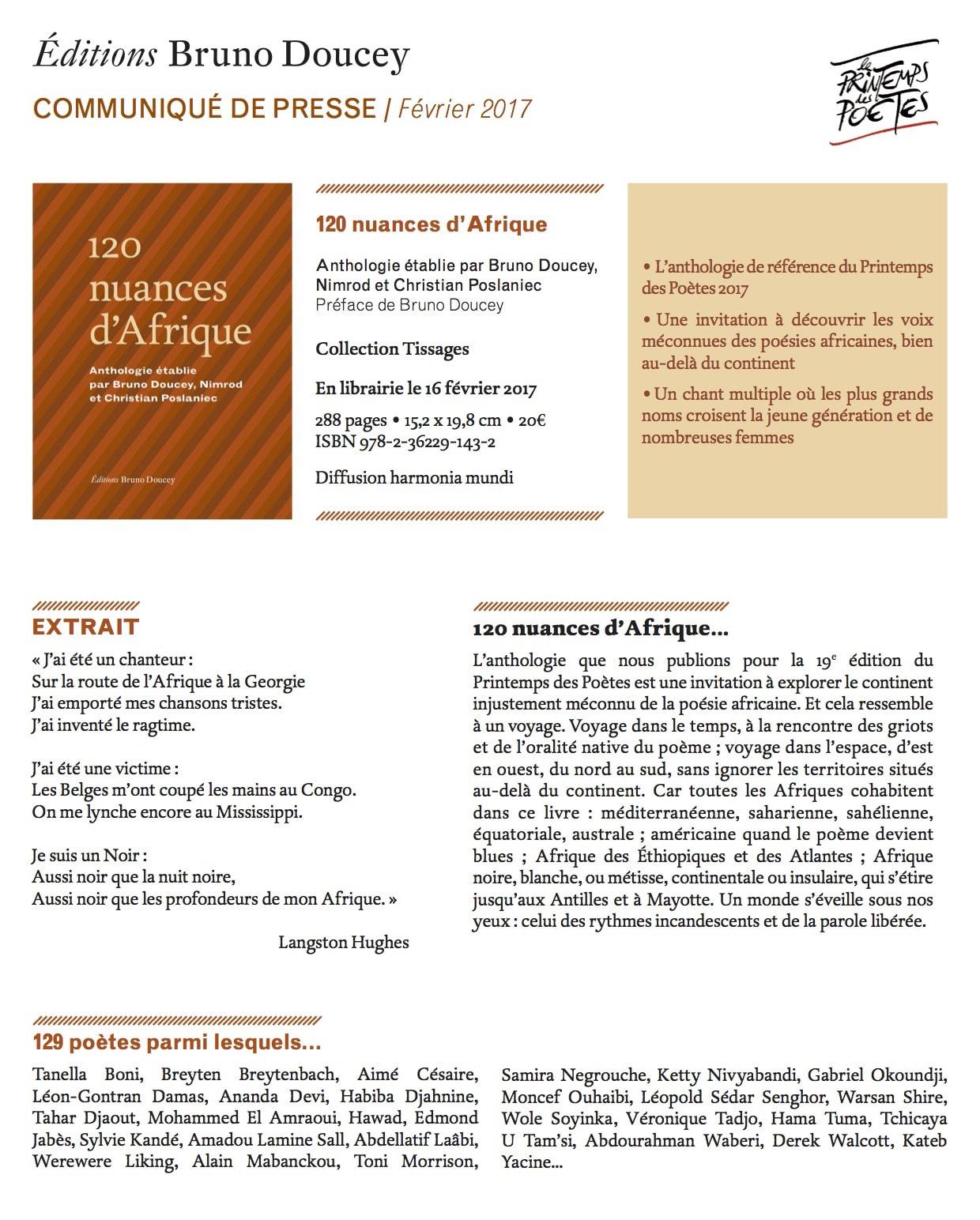 120 nuances d'Afrique communiqué de presse