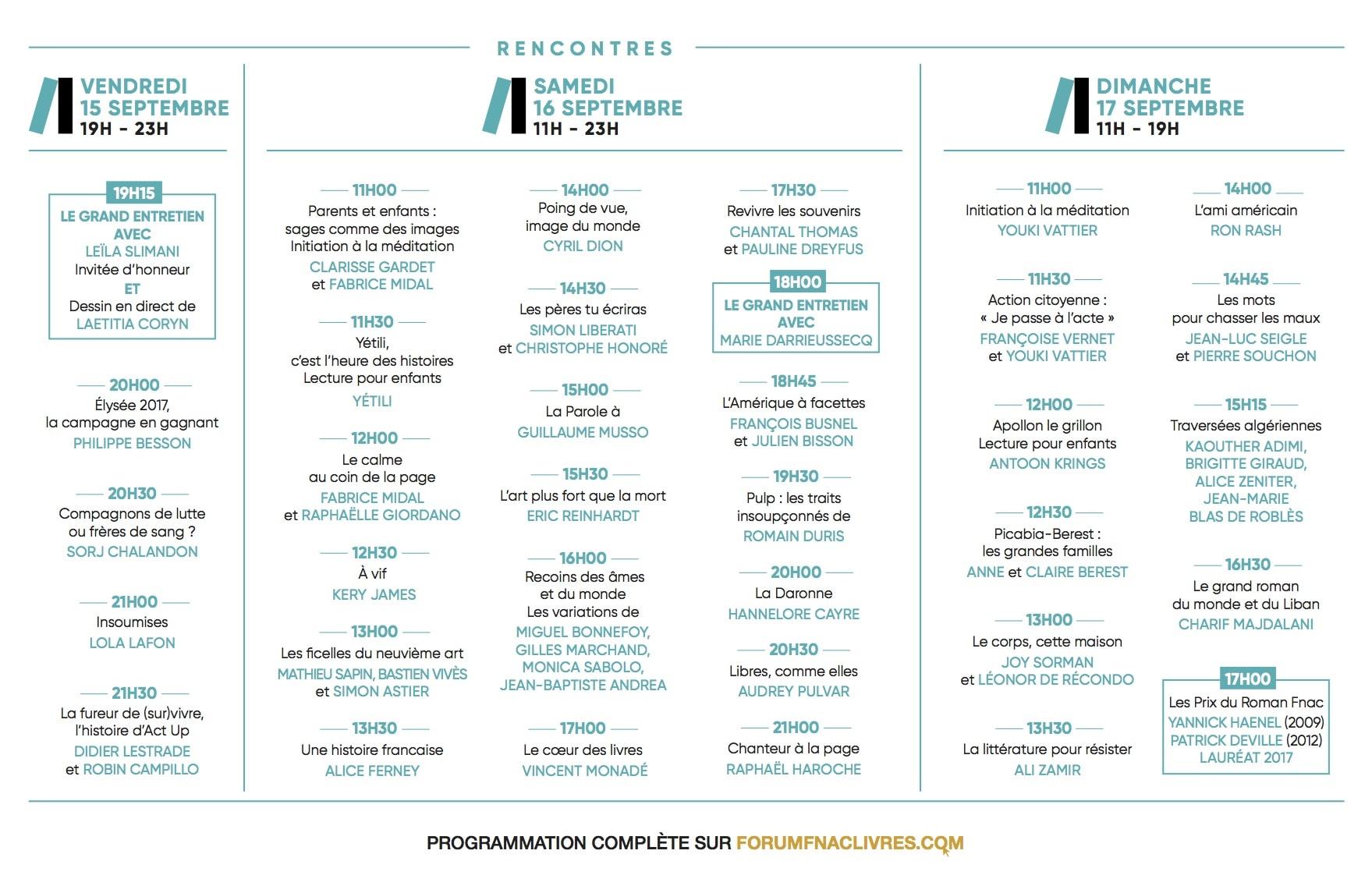 FORUM FNAC LIVRES 2017 programme