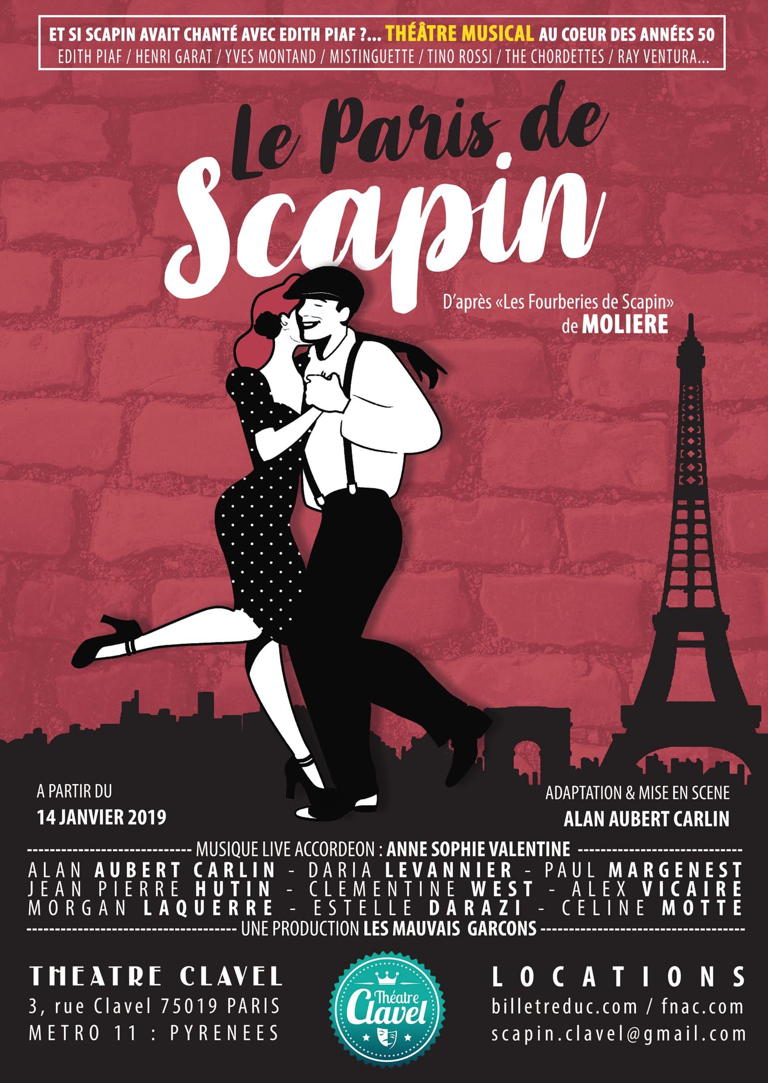 Le Paris de Scapin par Alan Aubert Carlin affiche Théâtre Clavel Molière