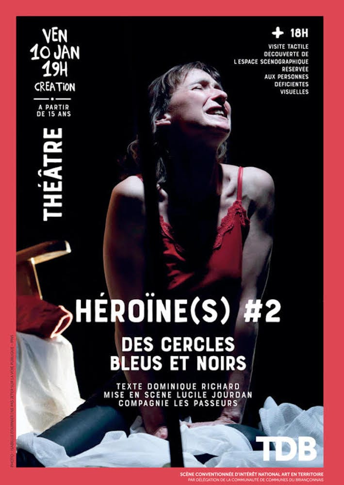 Héroïne(s)#2 - Des cercles bleus et noirs affiche théâtre contemporain