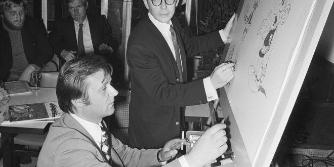 Albert Uderzo et Morris à Bijenkorf, Amsterdam en 1971