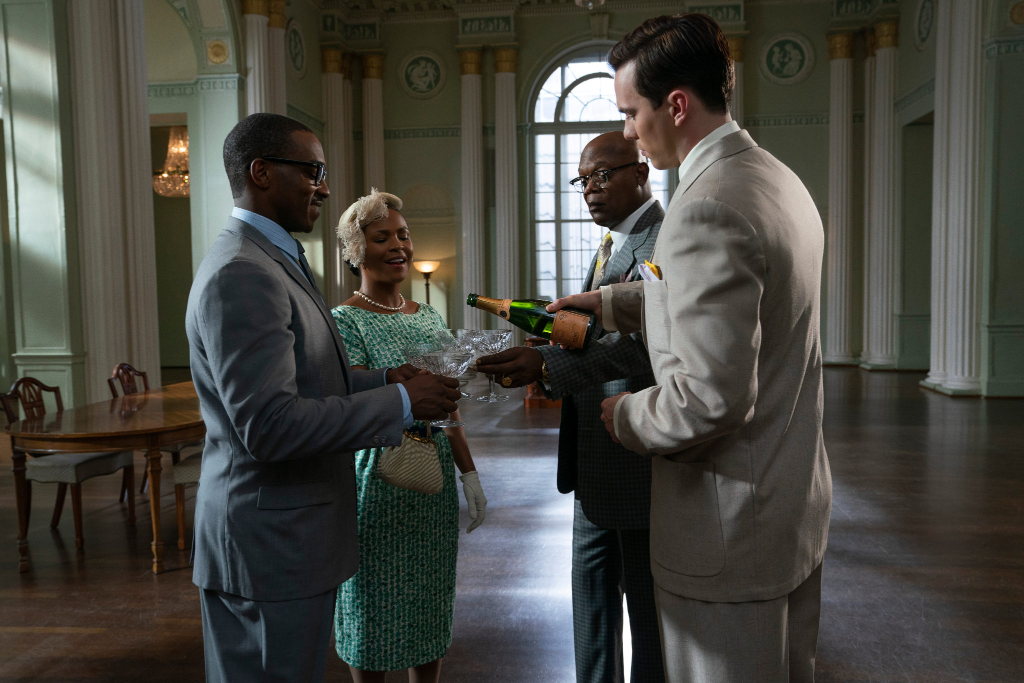 """Anthony Mackie, Nia Long, Samuel L. Jackson and Nicholas Hoult in """"The Banker,"""" now streaming on Apple TV+"""