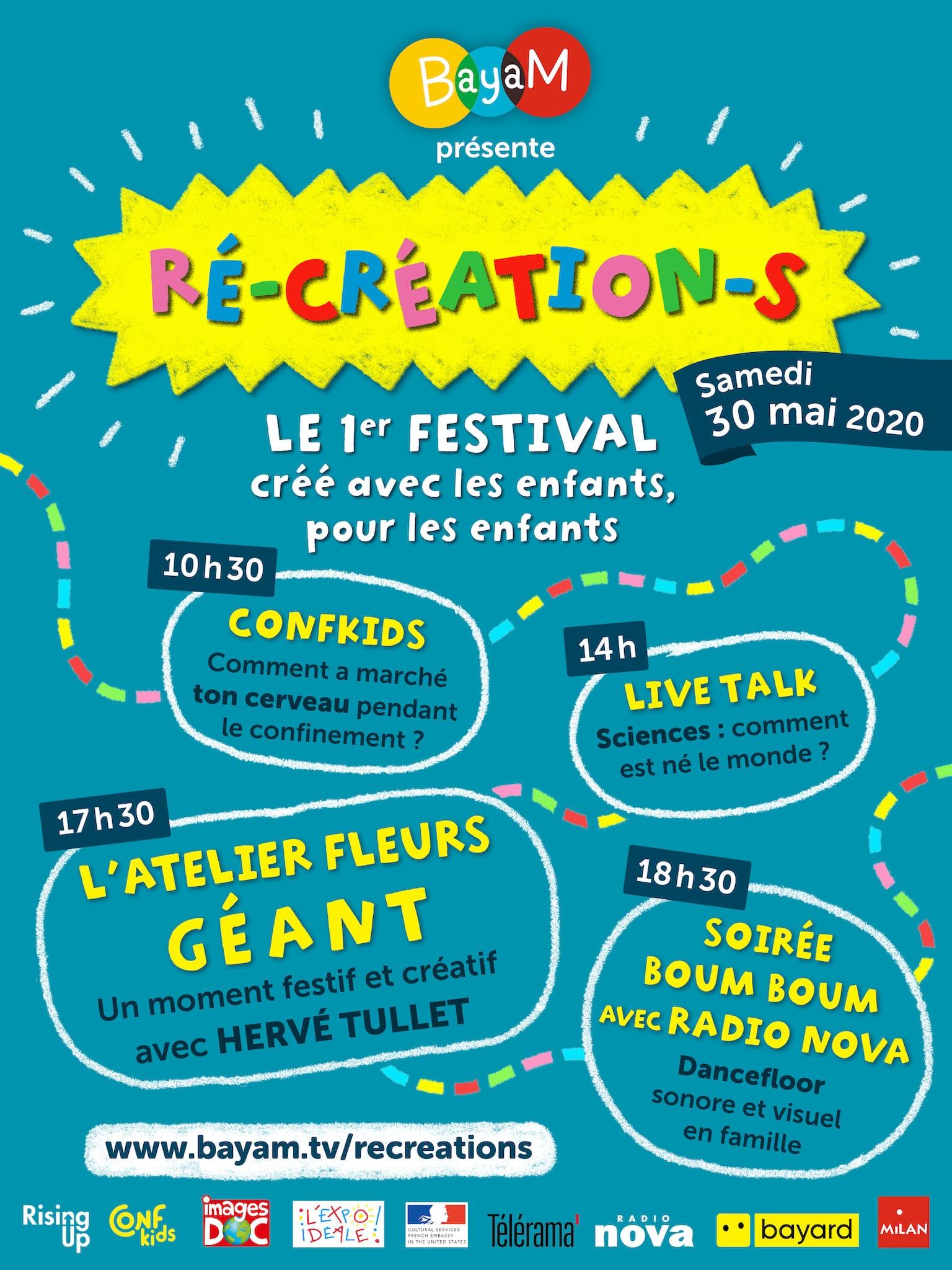Festival Ré-création-s 2020 affiche festival pour et avec les enfants