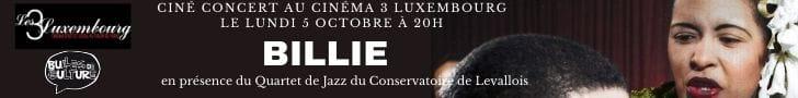 Bannière ciné-concert Billie Bulles de Culture et Les 3 Luxembourg film cinéma