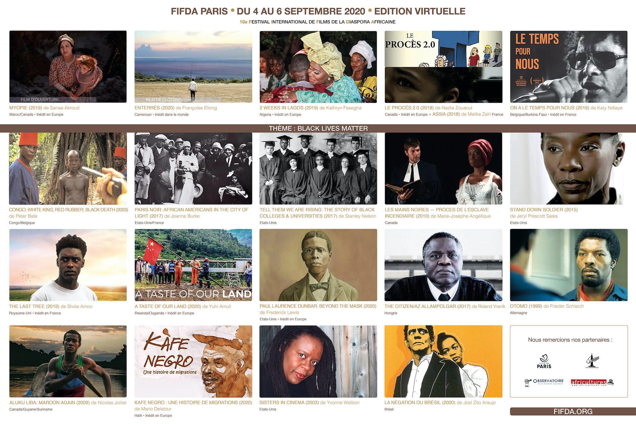 Festival International des Films de la Diaspora Africaine (FIFDA) 2020 grille de porgrammation cinéma