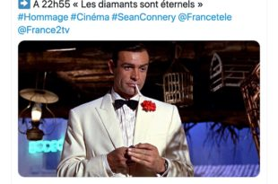 Capture d'écran twitter France 2 hommage Sean Connery