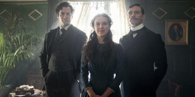 ENOLA HOLMES (L to R) HENRY CAVILL as SHERLOCK HOLMES, MILLIE BOBBY BROWN as ENOLA HOLMES, SAM CLAFLIN as MYCROFT HOLMES. Cr.