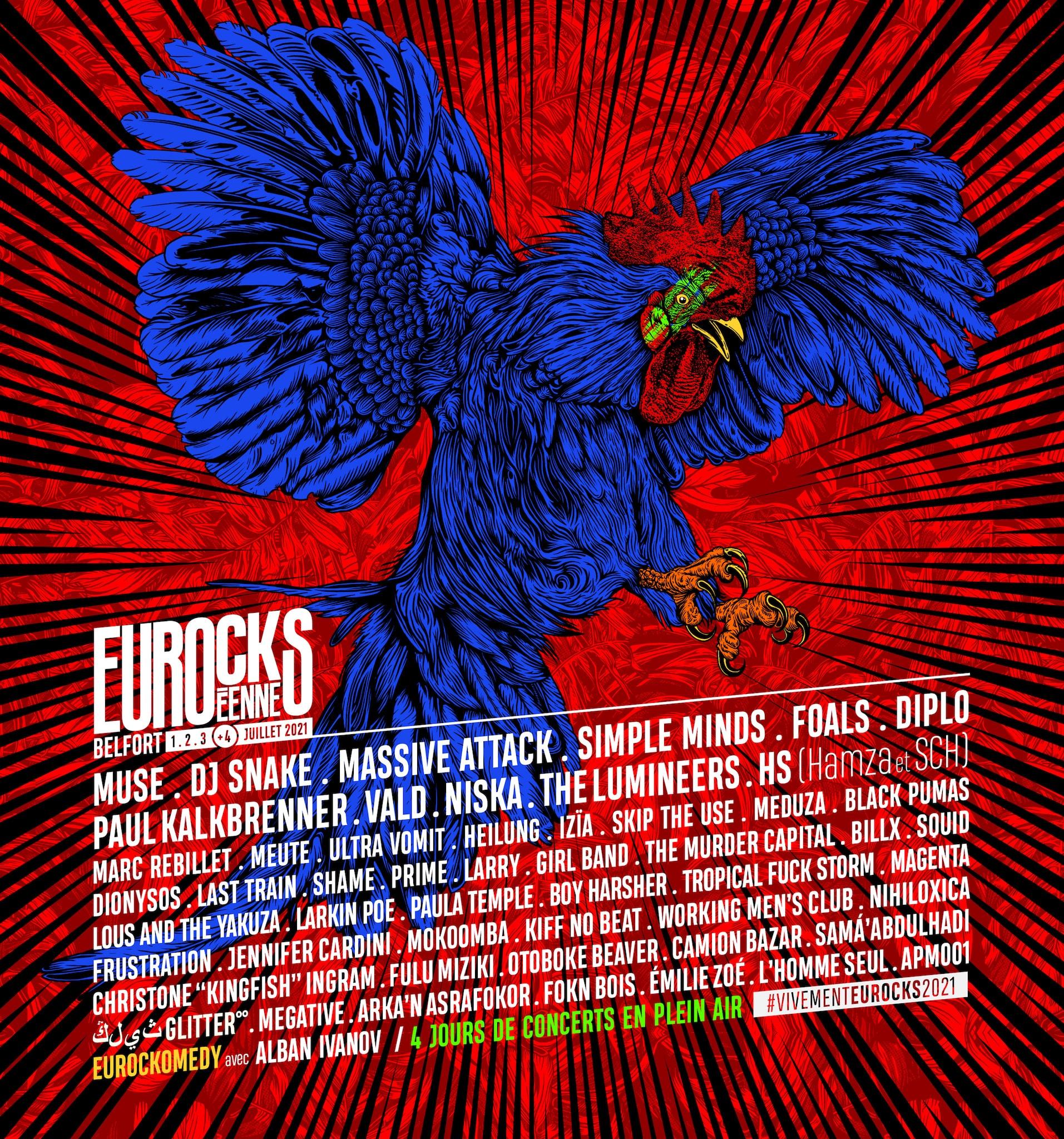 Les Eurockéennes de Belfort 2021 affiche festival musique